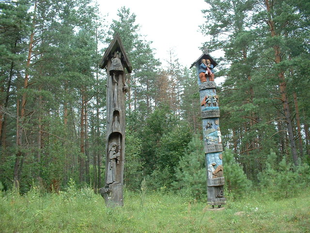 Carved poles